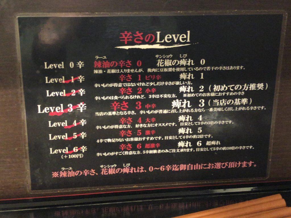 【四川担々麺 阿吽】こだわりの担々麺が食べられるお店【北浦和】レベル表